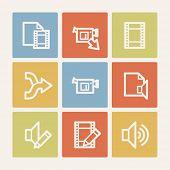 Audio video edit web icons, color square buttons