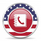 phonebook american icon, usa flag