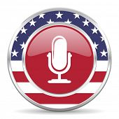 microphone american icon, usa flag