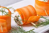Rolls Of Young Carrots With Cottage Cheese Macro