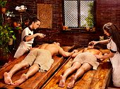 picture of panchakarma  - Couple  having oil Ayurveda spa treatment - JPG