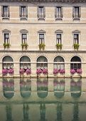 reflected building facade in Treviso