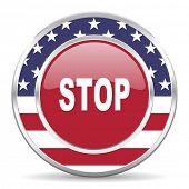stop american icon, usa flag