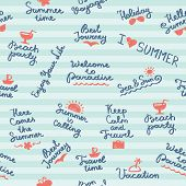 foto of bon voyage  - vector seamless pattern with summer handwritten letterings and symbols - JPG