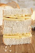 picture of home-made bread  - Rustic style hand cut Cheddar cheese sandwich made with home made bread - JPG
