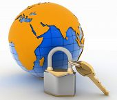 Lock with key and globe on white background. Isolated 3D image