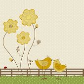 picture of bird fence  - Cute birds with yellow flowers on polka dots background - JPG