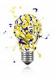 Yellow Blue Paint Burst Made Light Bulb