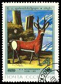 Vintage  Postage Stamp. Deer, By  N. A. Pirosmanashvili.