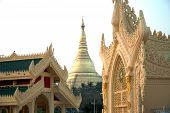 Golden Pagoda In Myanmar Temple.