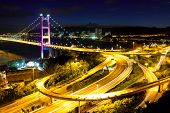picture of tsing ma bridge  - Tsing Ma bridge at night - JPG