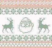 Knitted pattern with santa claus and deer vector illustration
