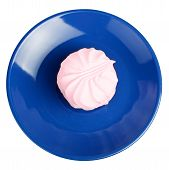 Marshmallow on blue plate