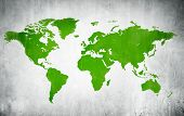 Green Cartography Of The World In A White Background