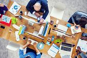 picture of teamwork  - Group of Multiethnic Busy People Working in an Office - JPG
