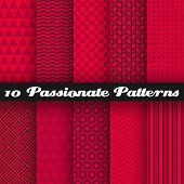 Passionate vector seamless patterns (tiling). Hot red color.
