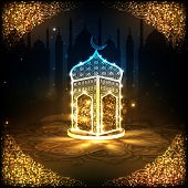 View of a shiny mosque in night background on beautiful golden floral design decorated frame for hol