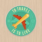 Vector Vintage Badge - Flat Icon. Travel Concept