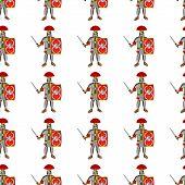 Roman Legionaries Seamless Pattern