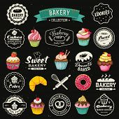 Collection of vintage retro bakery badges and labels on chalkboard. Hand lettering style with cupcak
