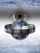 Eye watches earth film