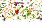 fresh herbs, vegetables and edible flowers collection, healthy salad preparation