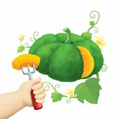 children's hand hold piece of pumpkin with fork illustration