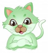 Illustration of an adorable green cat on a white background