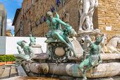 Fragment Of Neptune Fountain On Piazza Della Signoria In Florence, Italy