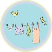 underwear dries on a cord