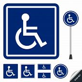 Handicap or wheelchair person icon set