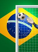 soccer goal with flag from brazil