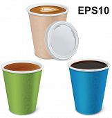 Tea, Cappuccino, Coffee In Paper Cups  Isolated On White. Vector Illustration