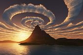 image of mystical  - Spiral clouds over mountain peak - JPG