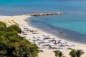 Kallithea Sunny Beach And Summer Resort At Kassandra Of Halkidiki Peninsula In Greece