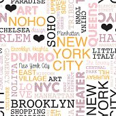 seamless new york city theme borough and icons typography background pattern in vector