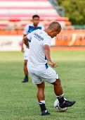 Sisaket Thailand-may 28: Therdsak Chaiman Of Chonburi Fc. In Action During A Training Ahead Thai Pre