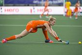 THE HAGUE, NETHERLANDS - JUNE 2: Willemijn Bos (Netherlands) strikes the ball, stretching deep, duri