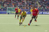 THE HAGUE, NETHERLANDS - JUNE 2: Australian Dwyer is playing the ball followed by the Spanish player
