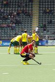 THE HAGUE, NETHERLANDS - JUNE 2 2014: Manel Terraza (Spain) squats down in disappointment after losi