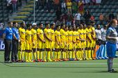 THE HAGUE, NETHERLANDS - JUNE 2: The Indian national field Hockey team at the line up of their match