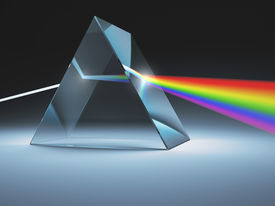 image of prism  - The crystal prism disperses white light into many colors - JPG