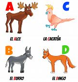 picture of cockatoos  - spanish alphabet with different animals - JPG