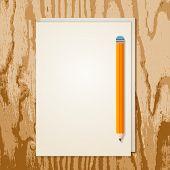 Blank Sheet Of Paper And Orange Pencil On Grunge Wooden Background. Vector Illustration