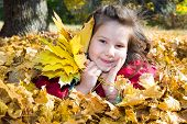 Cute Child Girl Playing With Fallen Leaves In Autumn Park