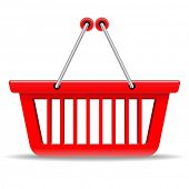 Empty red shopping basket icon isolated on white background.