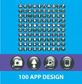 100 application glossy buttons, website icons, signs, objects set, vector