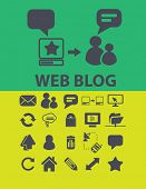 web blog icons, signs, objects set, vector