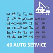 auto service, car station icons, signs, objects set, vector