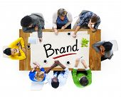 Aerial View of Multiethnic Group with Brand Concept